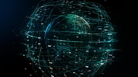 global network illustration, 3D illustration symbolizing global information technology with Earth, random numbers and other elements, symbols of digital word