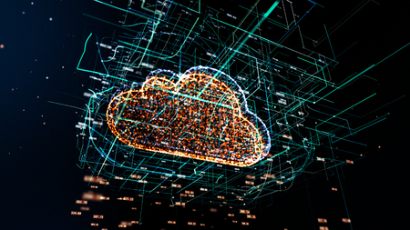 Cloud technology, cloud computing symbol, random numbers and others elements which creating abstract 3D information technology illustration