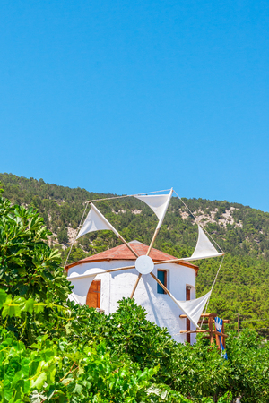 Greek windmills on Rhodes island, Greece Stock Photo