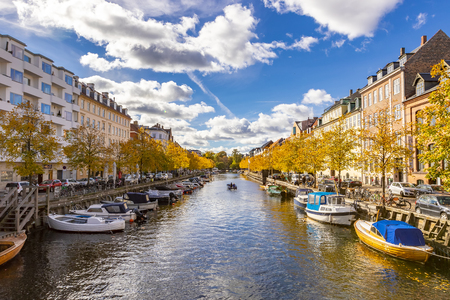 Scenic view of the canal in Copenhagen on a beautiful autumn sunny clear day, Denmark