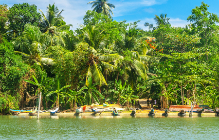 Fisherboats on the shore of Koggala lake owned by locals, Galle District, Southern Sri Lanka Reklamní fotografie