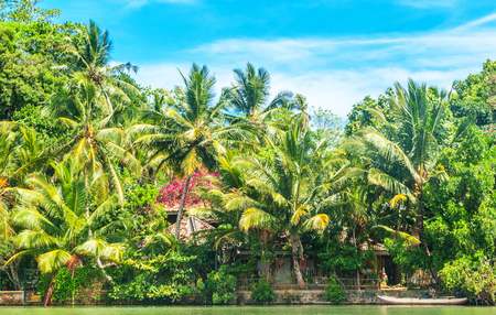 Small settlements on the shore of Koggala lake in Galle District, Southern Sri Lanka