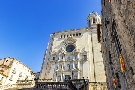 Cathedral of Girona, also known as the Cathedral of Saint Mary of Girona, Roman Catholic church in Romanesque and Gothic styles, with a record breaking 22 meters wide Gothic nave. Girona landmarks