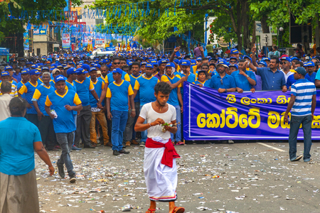 Galle, Sri Lanka - May 1, 2016: Procession on May Day demonstration in Galle, Sri Lanka