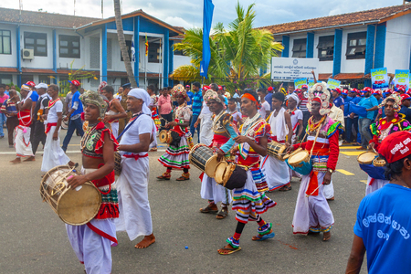 Galle, Sri Lanka - May 1, 2016: Procession of musicians on May Day demonstration in Galle, Sri Lanka Editorial