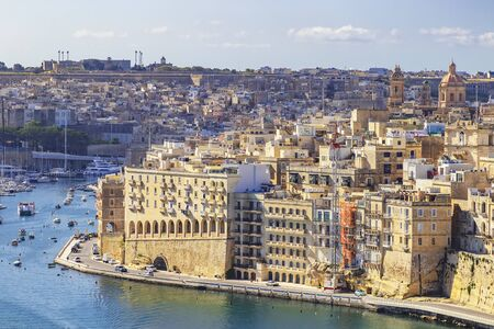 View of Grand Harbor and Senglea from Upper Barrakka Gardens in Valletta, Malta 写真素材