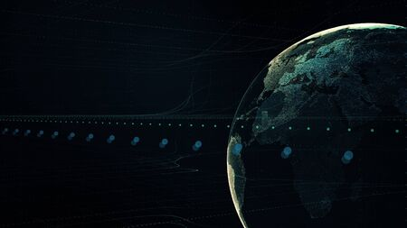 Lines connection around Earth globe, futuristic technology abstract illustration of digital world with light effect, 3D illustration