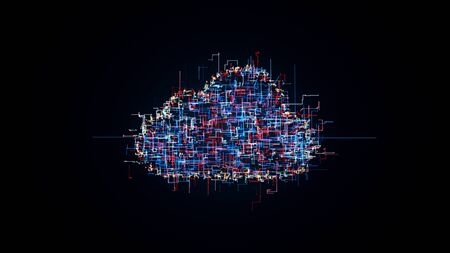 Cloud computing symbol, random lines creating cloud shape, 3D illustration of cloud technology, internet of things 写真素材