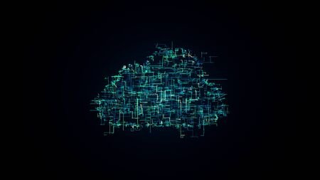 Cloud computing symbol, random lines creating cloud shape, 3D illustration of cloud technology, internet of things 写真素材