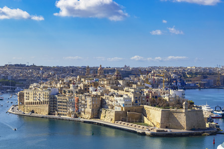 View of Grand Harbor and Senglea from Upper Barrakka Gardens in Valletta, Malta 報道画像