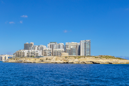 Sliema, a resort town on the east coast of the Mediterranean island of Malta