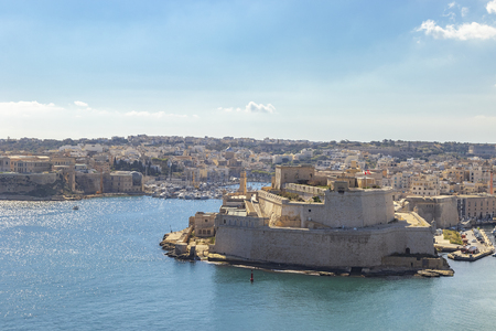 Fort St. Angelo in Birgu, view from Upper Barrakka Gardens, Valletta, Malta
