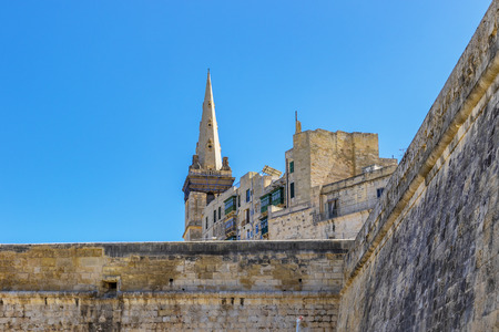 Ancient fortifications of Valletta, medieval castle city stone walls fortification, grand harbour In Valletta, Malta