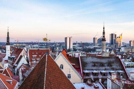 Old town of Tallinn in winter time, Tallinn, Estonia 写真素材 - 135547420
