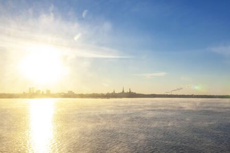 Areal view of Tallinn in winter time from sea, Tallinn, Estonia 写真素材
