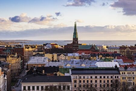 Aerial view of Helsinki in winter time, Helsinki capital of Finland 写真素材 - 135547416