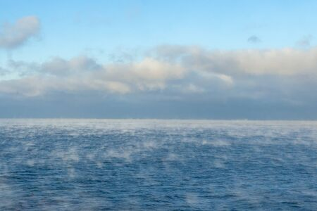Steaming Baltic sea in winter time
