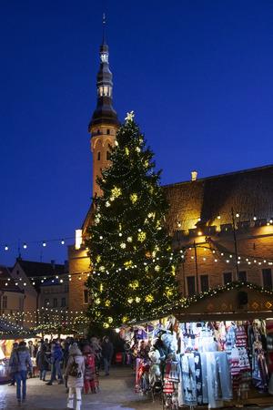 Tallinn, Estonia - Junuar 02, 2016: Town Hall Square in Tallinn in christmas time, Raekoja plats, Tallinn, Estonia