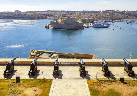 Fort St. Angelo in Birgu and the saluting battery at Barakka gardens in Valletta, Malta