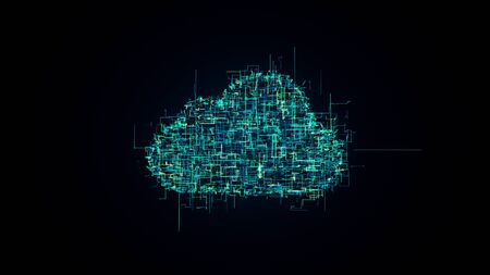 cloud technology illustration, symbol of IT technologies