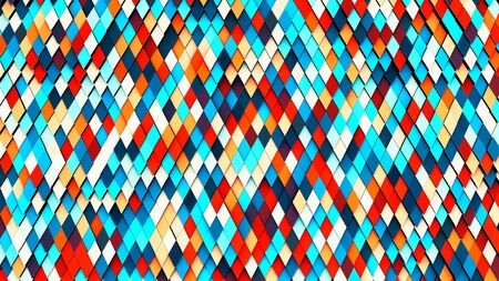 Illustration of abstract colorful rhomb geometric surface, minimal diamond grid pattern Stock Photo
