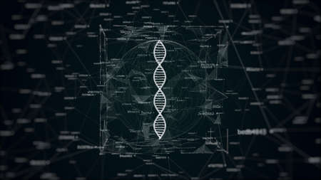 3d illustration of DNA in digital noise, abstract future science illustration of  DNA in sphere and cube surrounded by connected hash codes