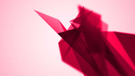 triangle abstraction, red geometrical triangulation with chaos position,  abstract illustration