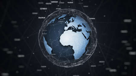 3D earth globe in geometric chaos with digital noise witch connected hashes, tech background illustration 写真素材