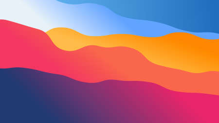 abstract wallpaper from wavy shapes filled colorful gradient, background illustration