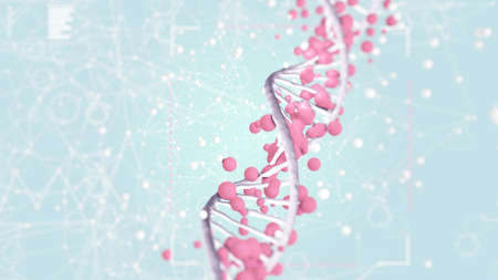 3D illustration of DNA strand surrounded alien cells in digital chaos, abstract health science illustration