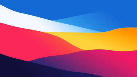abstract wallpaper from wavy layers filled colorful gradient, 2D background illustration