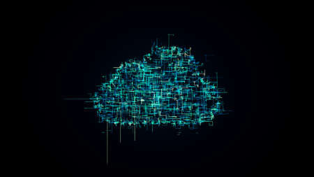 cloud shape from lines symbol of cloud technology, concept of information technology illustration