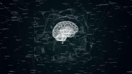 wireframe of human brain surrounded digital and geometrical noise Фото со стока