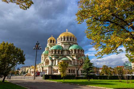 Autumn view of Cathedral Saint Aleksandar Nevski in autumn, Sofia, Bulgaria Фото со стока