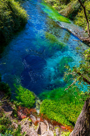 Blue Eye lake nature monument, water spring and natural phenomenon, crystal clear blue water, bubbles forth from depth of more than fifty metres. Albania, Vlora County, near Saranda