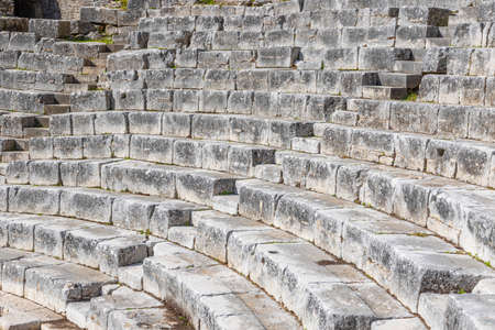 The remains of the amphitheater in the ruins of the ancient city of Butrint, Albania