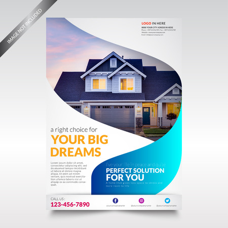 Plantilla de volante de bienes raíces, folleto con forma Ilustración de vector