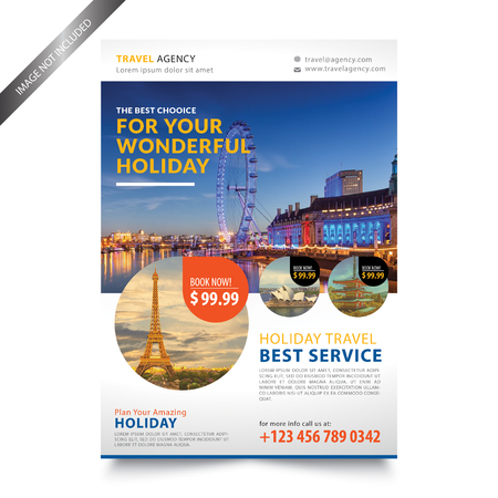 Travel Agency Flyer template 向量圖像