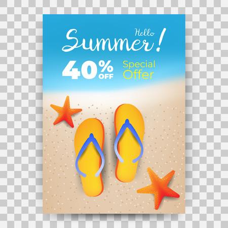 Summer Sale promo banner with blurred background Illustration