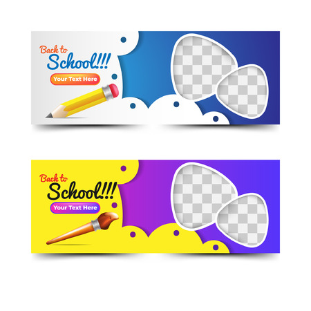 Back to school banners collection with pencil and brush Иллюстрация
