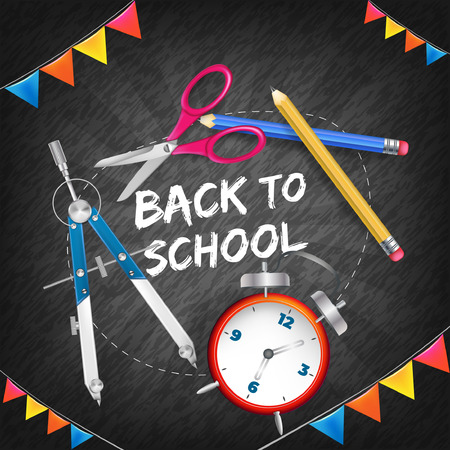 Back to school with realistic elements Illustration