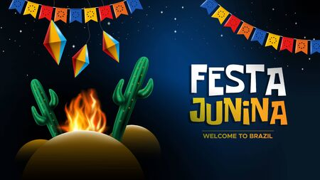 Festa Junina with paper lantern and cactus campfire Illustration
