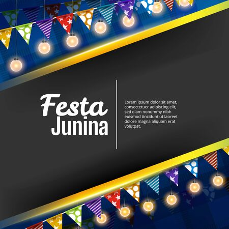 Festa junina background with pennants and lights Illustration