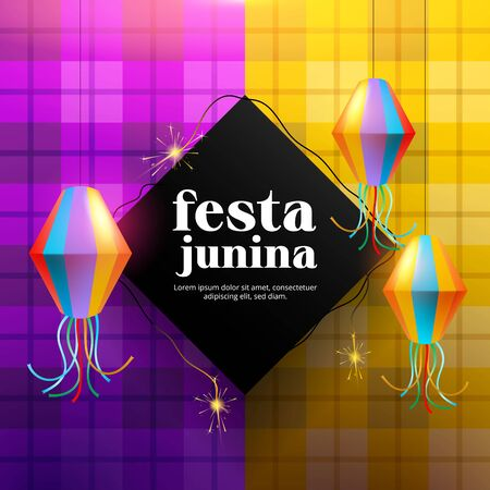 Festa junina background with paper lamp and fireworks