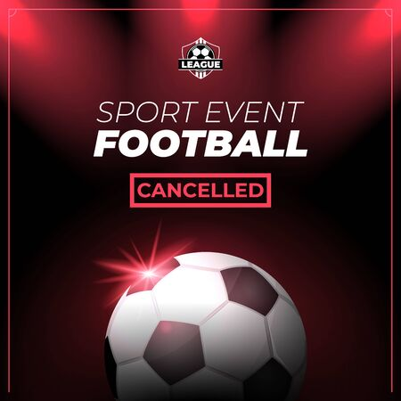 Soccer sports event canceled flyer or banner Иллюстрация
