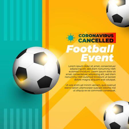Soccer sports event canceled flyer or banner Ilustrace