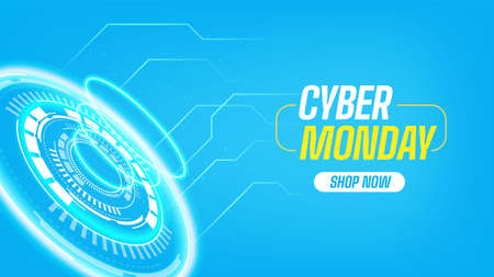 Cyber monday banner with technological elements 矢量图像