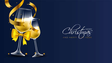 Merry christmas postcard design with two champagne flutes