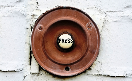 house call: Old Doorbell Stock Photo