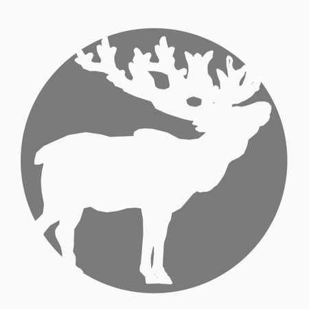 Elk in Circle Silhouette